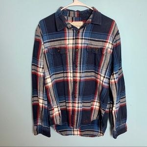 Aeropostale Red White And Blue Plaid Flannel M